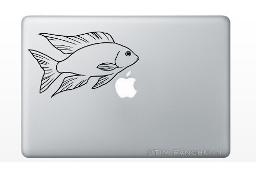 Swimming Peacock Cichlid Lwanda Fish MacBook Laptop Vinyl Decal Sticker Aulonocara Aquarium Tank Fishtank Food OB Fins Betta