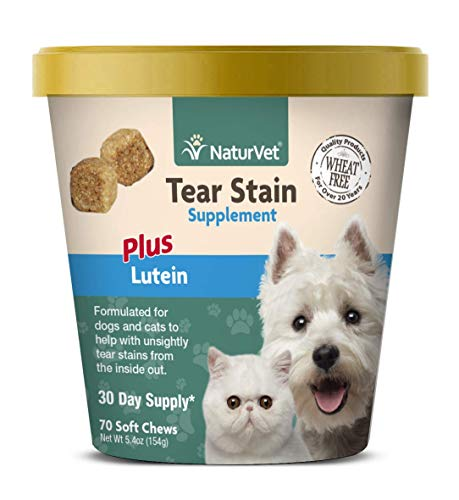 NaturVet – Tear Stain Plus Lutein – Eliminates Unsightly Tear Stains – Enhanced with Cranberry Extract, Marshmallow Root & Oregon Grape Root – for Dogs & Cats – 70 Soft Chews