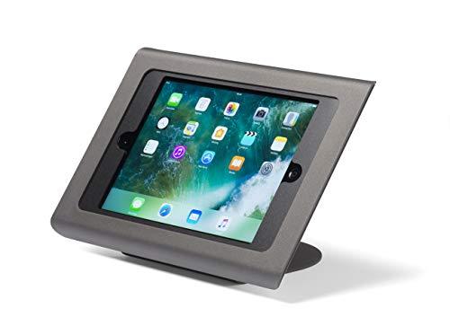 Tabdoq diebstahlsichere Tischhalterung kompatibel mit iPad 7 & 8 (2019 & 2020) 10.2 Zoll sowie iPad air 10.5 mit Zugriff auf die Home-Taste und Frontkamera (schwarz)
