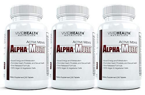 Active Men's Alpha-Multi - Complete One A Day Multivitamin for Men | Supports Prostate & Cardiovascular Health with Vitamin D, A, C, E, B12 | Boost Energy, Libido, Virility | 3 Bottles, 60 Tabs Each