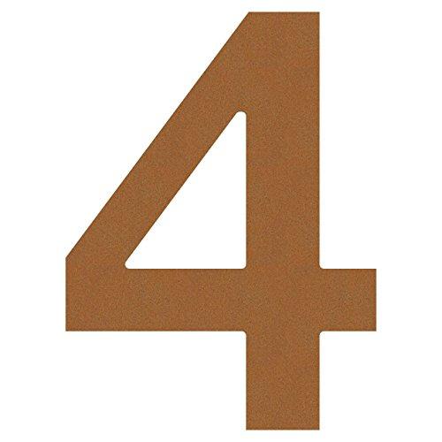 Hausnummer 4, Design Hausnummer aus Edelstahl in Rost