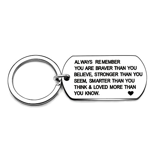 Stainless Steel Key Chain Ring You are Braver Stronger Smarter Than You Think Pendant Family Friend Gift (Style B Stainless Steel)