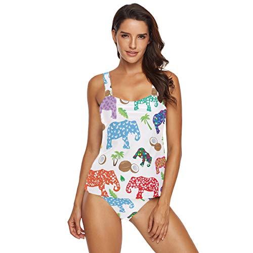 Damen Zweiteiliger Badeanzug bunte Elefanten Sommer Tropische Bäume Tankinis Bademode Strand Badeanzug Bikini-Set Gr. M, multi