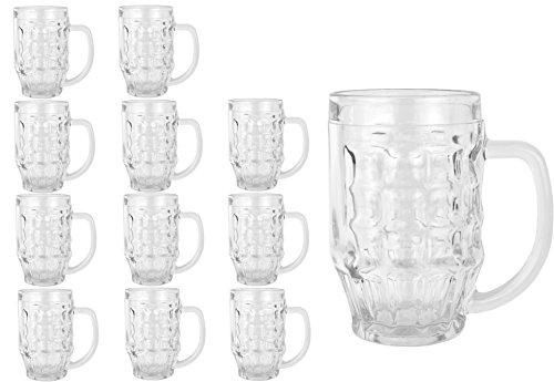 12er Set boccale da birra, boccale Malle, 0.25litri, Ø 70mm, H 125mm, Birra Seidel, Brocca in vetro con manico, da birra, boccale, attrezzature per feste, Club, delle feste e brauhaeuser