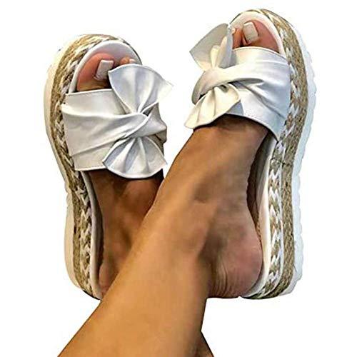 JFFFFWI Sandalias de Gamuza con Plataforma para Mujer Zapatillas de Verano con Punta Abierta Bowknot Chanclas cómodas y Transpirables Alpargatas Antideslizantes para la Playa Zapatos con cuñas, Blan