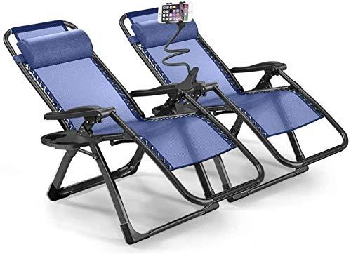 ENOLLA Silla de Gravedad Cero Tumbona Juego de 2 para Silla reclinable Garden Lounge al Aire Libre con bandejas portavasos para Patio Beach Lawn Camping Pool (Blue)