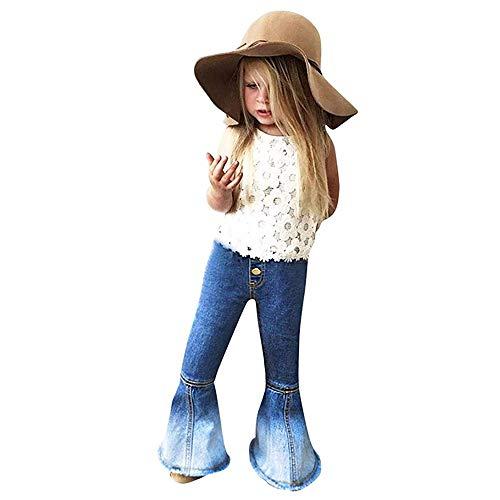 MODNTOGA Little Kids Baby Girl's Vintage Jeans Bell-Bottoms Denim Pants Skinny Pants 2-7T (Dark Blue, 130 (6-7T))