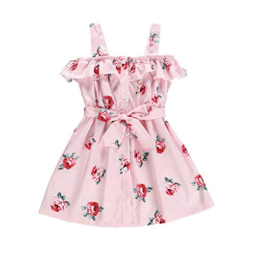 Toddler Baby Girl Clothes Summer Big Sister Outfits Sleeveless Camisole Casual Dress Skirt with Belt Kid Clothing Set (Pink, 4-5T)