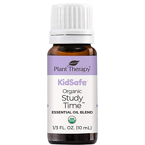 Plant Therapy KidSafe Organic Study Time Essential Oil Blend for Focus, Mind Calming, Concentration Blend for Kids 100% Pure, Undiluted, Natural Aromatherapy, Therapeutic Grade 10 mL (1/3 oz)