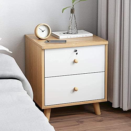Nattduksbord vit, hemförvaringsskåp med 2 lådor och 1 öppet fack sängbord Sovrumsförvaringsbord för hem (färg: L)