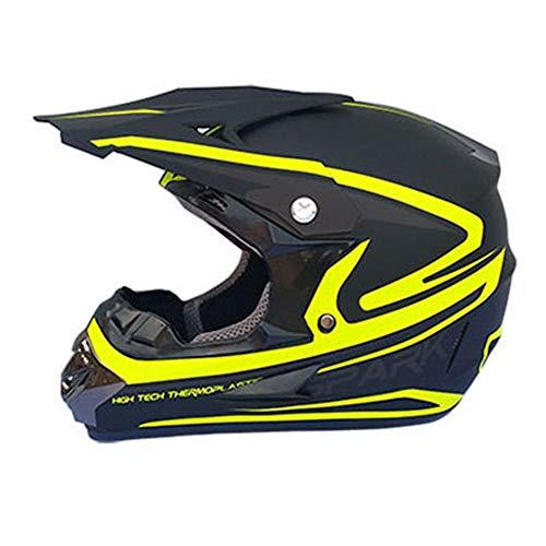 Sebasty Casco de motocross para motocicleta de cuatro estaciones universal, profesional, para todo terreno, casco de carreras de descenso, color negro mate, amarillo, grande (talla M: M)