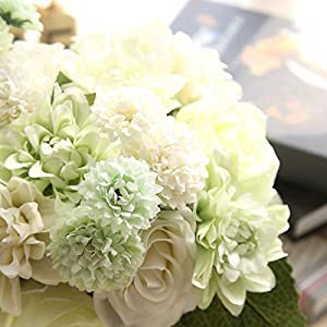 Artificial and Dried Flower 1 Bouquet Vivid Silk Artificial Flowers Dahlia Bunch Valentine's Day Gifts Bridal Bouquet Wedding Decoration – ( Color: 3 )