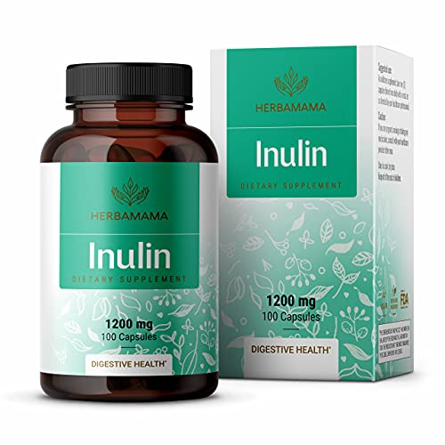 HERBAMAMA Inulin Capsules - 1200 mg, 100 Caps - Organic Chicory Root Nutritional Supplement Promoting Digestive Function & Gut Wellness - Intestinal Support with Fiber & Prebiotics - Non-GMO, Vegan