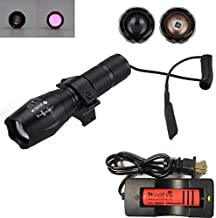 WINDFIRE Infrared IR Illuminating Light High Power 850nm Focus Adjustable Flashlight, Great for Night Vision Coyote Hog Predator Hunting, with Pressure Switch,Rail Rifle Mount,18650 Battery & Charger