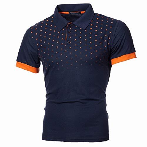 Herren Polo Kurzarm, Übergroßer, Schmaler Reversdruck Dunkelblau-Gelb-Weiß-Oberbekleidung Schnelltrocknende Stretchknopf-Trikots Kleidung Lässiges T-Shirt Golf-Tennis-Arbeitskleidung Weste, 5Xl