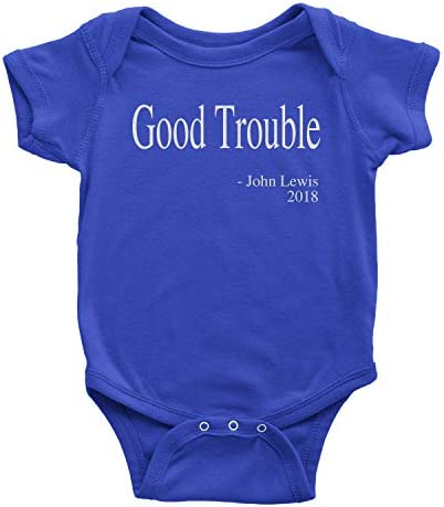 Expression Tees One Piece Good Trouble Quote 12 Months Royal Blue Romper product image