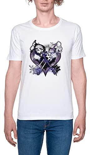 Reino Corazones Llaves Espada Camiseta para Hombre Blanca De Manga Corta Ligera Informal con Cuello Redondo Men's Tshirt White