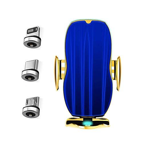 YUYANDE Cargador inalámbrico Sensación de automóviles Clip retráctil automático Carga rápida, Smart Wireless Celular Cargador de automóvil Auto Soporte de ventilación, sujeción automática, carga rápid