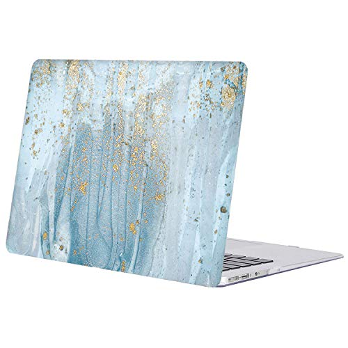 SZAIENXIL for MacBook Pro 13 inch Case Plastic Hard Shell Cover Compatible with Old Version MacBook Pro 13 Inch (A1278, with CD-ROM) Release Early 2012/2011/2010/2009/2008,Marble Blue Gold