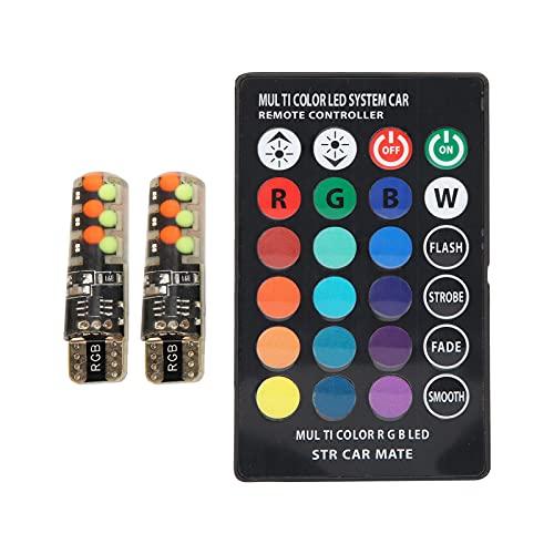 Bombilla indicadora de coche 2PCS, luz teledirigida colorida con ajustes universales RGB de flash explosivo para Ve