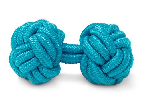 THE SUITS CREW Manschettenknöpfe Seidenknoten Herren Damen Nylon Stoff | Cufflinks Silk Knots für alle Umschlagmanschetten Hemden | Einfarbig (Türkis)