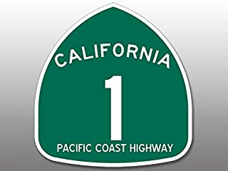 JR Studio 4x4 inch Green PCH Pacific Coast Highway 1 Sign Shaped Sticker -Route California Vinyl Decal Sticker Car Waterproof Car Decal Bumper Sticker