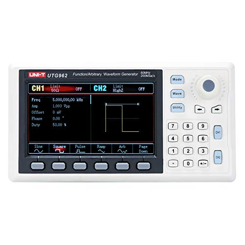 UNI-T UTG962 Function Generator Arbitrary Waveform 60 MHz Dual-Channel 200MSa s 14 Bits Frequency Meter with USA Power Adapter USB Cable Power Cord BNC Cable Alligator Clips