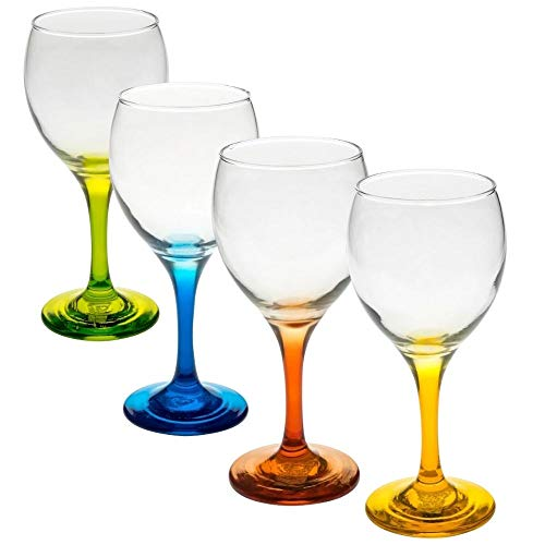 STUNNING, DECORATIVE, ELEGANT COLLECTION of multi colored set of 4 wine glasses that will add an air of sophistication to your table setting. A superb gift idea that radiates with class.