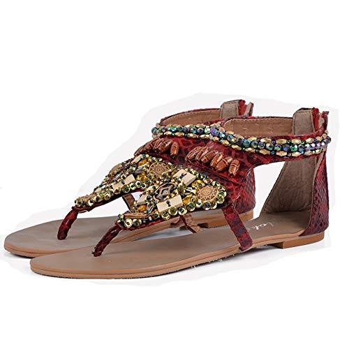 QLBF Sandalias de verano para mujer Casual Cómodas Sandalias for las mujeres cómodo Plataforma sandalias for la playa Verano Viajes zapatos de mujer sandalias planas con zapatos planos de las mujeres