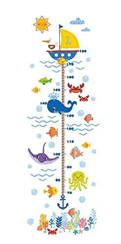 Kibi Pegatinas De Pared De Peces Submarinos Niños Stickers Infantiles Para Pared Niños Adhesivos Pared Peces Medidor Altura Niños Pegatinas Infantiles Medidor
