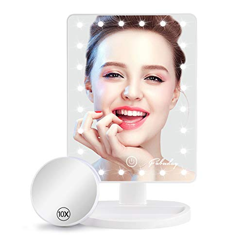 Fabuday Makeup Mirror with Lights, Lighted Makeup Mirror with Detachable 10X Magnification, Touch Screen and Light Adjustable, 180° Rotation, Color Boxed, White