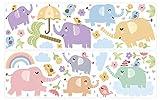 dekodino® Adesivo murale elefanti pastello variegata set grande vivaismo