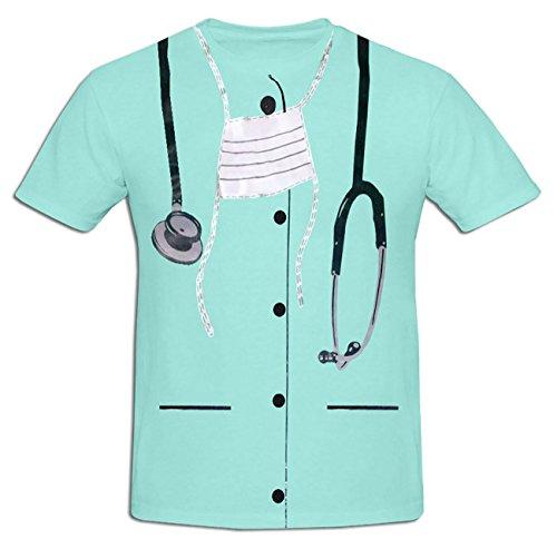 WickedFun Heren Gedrukt T Shirt Fancy Jurk Kostuum Vlek Doe Feest Casual T Shirts Cowboy (Groot, Chirurg Gedrukt T-Shirt)