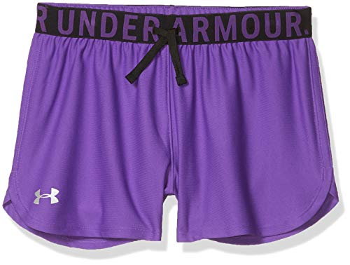 Under Armour Girls' Play Up Solid Workout Gym Shorts , Purple Pop (546)/Metallic Silver , Youth Large