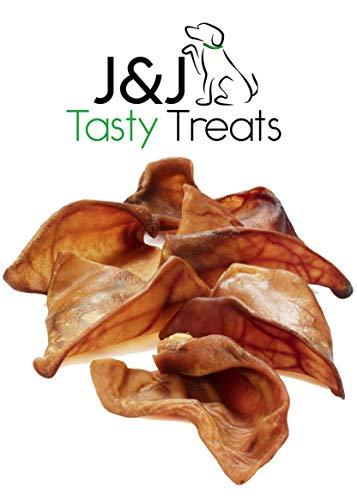 Schweineohren für Hunde Qualität Groß 8 Stück Höchster Wohlfahrtsgrad Natürlicher getrockneter Snack Ganzes Schweineohr Kauen Gesunde Leckereien von J&J Tasty Treats