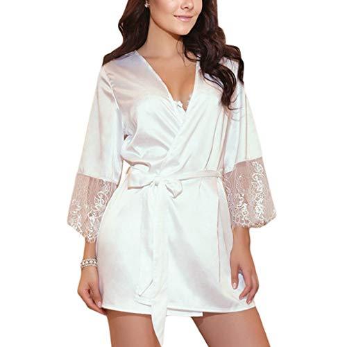 smonke Damen Reizwäsche Spitzen Teddy Unterwäsche Frauen Sexy Seide Kimono Satin Dressing Kleid Bademantel Spitze Dessous Nachthemd Damen sexy Satin Spitze Nachthemd