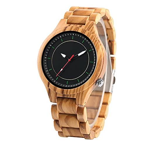 Relojes de Madera completos para Hombres, Puntero Rojo, Escala Verde, Esfera Redonda, Reloj Masculino, Ajustable, Banda de Madera Completa, bambú