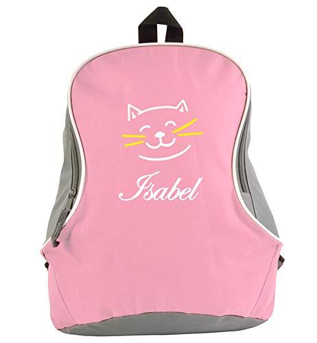 Rugzak tweekleurig roze-grijs met geborduurd naam in wit en kattendesign (stuur de naam na de bestelling met een bericht - bedankt)