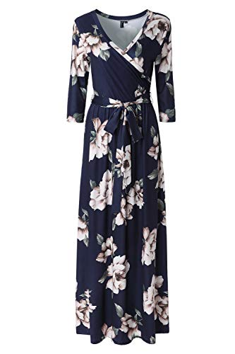 Zattcas Womens 3/4 Sleeve Floral Print Faux Wrap Long Maxi Dress with Belt,Navy Printed,X-Large