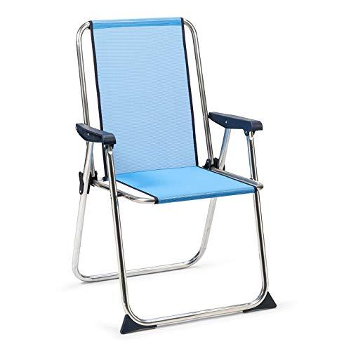 Solenny 50001072725267 50001072725267-Silla de Playa Plegable con Respaldo Alto Azul