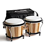"""MUSICUBE Bongo Drums for Kids Adults Professional 6"""" and 7"""" Tunable Hand-Crafted Bongo Drum Percussion Instrument with Tuning Wrench and Storage Bag (Natural Skin)"""