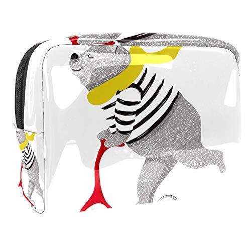 Bolsa de maquillaje portátil con cremallera bolsa de aseo de viaje para mujeres práctico almacenamiento cosmético bolsa de oso scooter