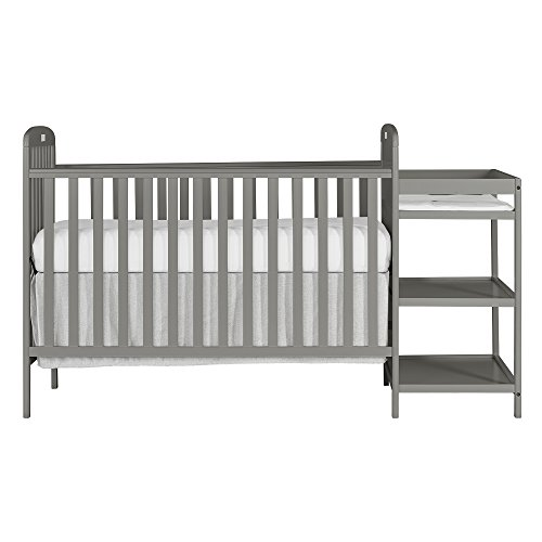 Dream On Me, Anna 4-in-1 Full Size Crib and Changing Table Combo in Steel Grey, Greenguard Gold Certified