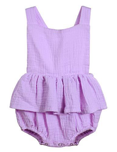 Oklady Infant Newborn Baby Girl Romper Ruffle Cotton Flutter Sleeve One-Piece Bodysuits 0-3 Months Purple