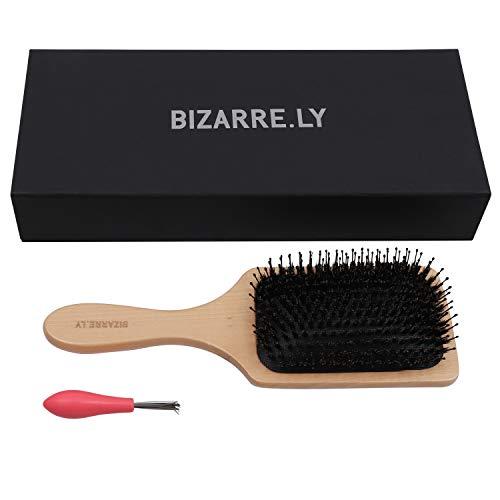 Haarbürste Wildschweinborsten - 24,5cm Paddel Bürste mit Haarentfernungs Werkzeug - Der beste Entwirrer mit Holzgriff, kann zum Föhnen und Glätten verwendet werden