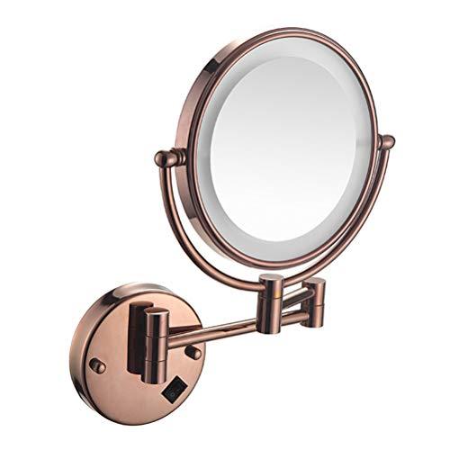 Cosmetic mirror Miroir de Maquillage Mural avec lumière LED Miroir de courtoisie télescopique Pliant Double Face à grossissement 3 / 5X,3,3X