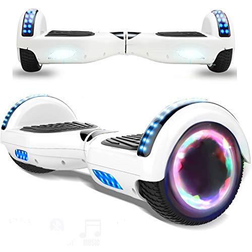Magic Vida Patinete Eléctrico Overboard 6.5 Pulgadas Blanca,Motor de 700W,Bluetooth,Auto-Equilibrio,Luz LED,Scooter Electrico para Niños y Adultos