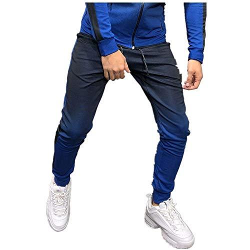 Celucke, pantaloni da jogging da uomo, per autunno e inverno, per il tempo libero, slim fit, alla moda Blu L