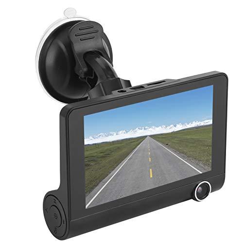DVR para automóvil, lente de 3 vías 1080P Full HD Grabador de conducción Cámara de tablero con pantalla IPS de 4', soporte G-Sensor, grabación en bucle, detección de movimiento