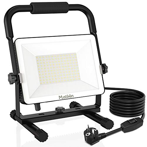 MustWin - Foco LED de trabajo con cable de 5 m, IP65, resistente al agua, luz blanca diurna para taller, construcción, pintor, USW (100 W)